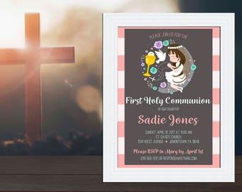 Striped Praying Girl First Communion Invitation / Customized Printable Invitation Cards DIY