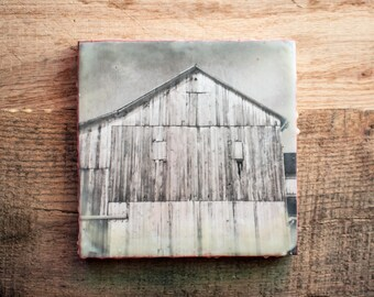 Barn Encaustic Painting / 6x6 Wood Panel / Wax Art Country Texture Black & White Rustic Red