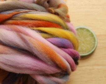 Harvest Faire - Handspun Merino Wool Yarn Brown Pink Orange Thick and Thin Skein