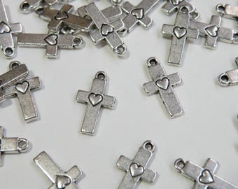 10 Simple cross charms with heart antique silver 15x9mm PLF11138Y