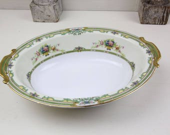 Noritake Raleigh Oval Vegetable Bowl Handled c. 1931 Green Floral Thanksgiving Holiday China #95