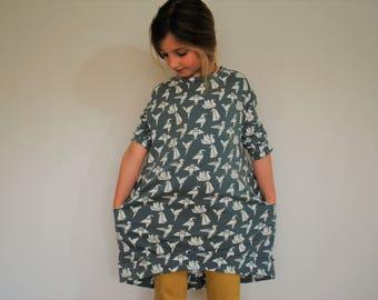 Girls grey jersey dress bird print pocket smock cotton girl floppy origami birds jumper slouchie dress pockets lounge birdie stretch