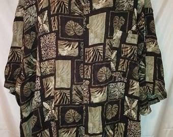 "BIG SUMMER SALE 90s Rayon Shirt-Big Man Men- Aloha Hawaii Hawaiian-6X-68""-Resort Luau Cruise Beach Casual Summer Wear"