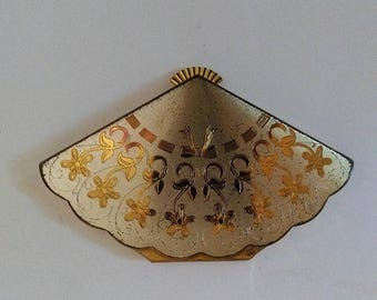 SUMMER CLEARANCE SALE Vintage Wadsworth Fan Powder Compact-Gold & Silver-Etched Floral Design-As Is-Collectors