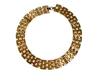 Wide Gold Flat Link Chain Necklace by Givenchy Couture