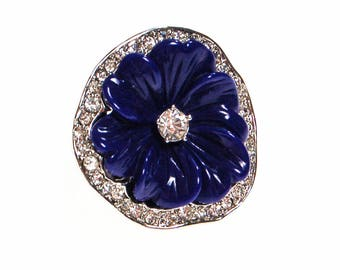 Reserved Huge Blue Pansy Flower Cocktail Ring, Cubic Zirconia, Kenneth Jay Lane, KJL, Ring Size 6