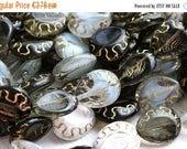 ON SALE Grey beads mix, czech glass, oval beads, Golden inlays, teardrop shape, pear - 17x14mm - 8pc - 1975