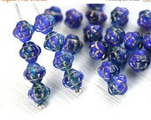 ON SALE 6mm Fancy Blue Bicones, Mixed Blue with golden inlays, Czech glass pressed beads - 30Pc - 0067
