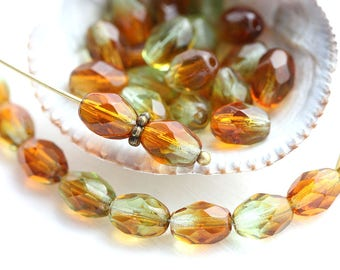 8x6mm Brown Green oval beads, czech glass fire polished topaz and olivine beads - 30Pc - 1600
