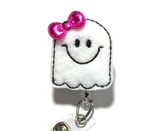 Halloween Badge Reel Friendly Ghost badge holder Nurse badge reel Cute retractable badge holder badge reels badge clip name badge reel name