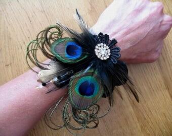 "Black Gold Green Bridal Wrist Corsage Wristlet Bracelet Cuff Peacock Feathers Crystal ""Zena"" Art Deco Gatsby Flapper Party Haloween Wedding"