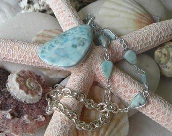 Larimar Necklace Larimar Pendant Handmade 24 to 26 Inch Silver Wire Wrapped Necklace Blue Semiprecious Gemstone Take 20% Off Larimar Jewelry