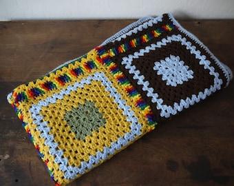 Large crochet multicoloured handmade granny blanket throw / GRANNY SQUARE AFGHAN Blanket Crochet handmade blanket /
