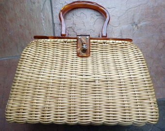 COATED STRAW BAG purse with lucite lid and handle 50's 60's