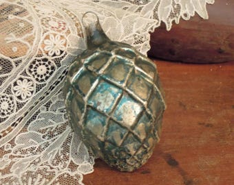 Vintage Antique Hand Painted German Pine Cone Ornament / Blue Christmas Ornament