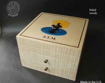 Custom Jewelry Box Handcrafted in the U.S.  JB-10-2 with free shipping.