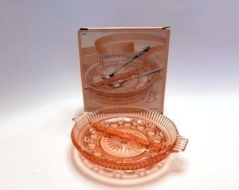 Vintage Indiana Carnival Glass Peach Ballard Divided Relish Plate