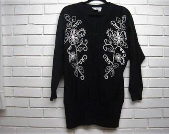 80's B&W Mini Sweater Dress size M