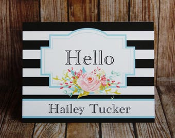 Notecards,Set of 14 Custom Notecards, 24 Colors-Monogrammed Notecards with Envelopes, Black Stripe Notecards, Custom Notecards