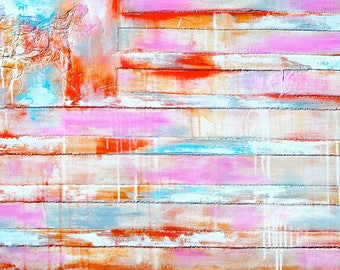 FREE SHIPPING Print on Canvas - Original Abstract American Flag Painting - Wall Home Decor - Pink, Tan, Blue - Americana - Beach Home Decor