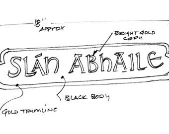 Custom order Slan Abhaile sign