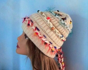 Beanie hat women, decorated embellished beanie, white knitted beanie, beaded beanie, slouch cream hat, boho beanie, festival gypsy fun hat