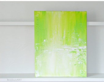 CLEARANCE SALE 22.00 OFF Modern Abstract Art, Spring Home Decor, Original Painting in Lime Green, Yellow, White, Birthday, Anniversary for H