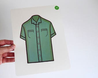 Large Vintage Flash Card of a Green Shirt - 1965 Peabody Language Development