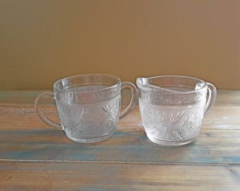 Vintage Open Sugar and Creamer Clear Sandwich Pattern Anchor Hocking Glass