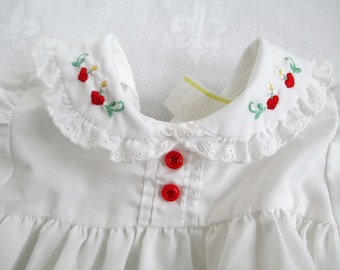 Vintage Adorable  Baby White With Red Embroidered Hearts And Flowers With Eyelet Flower Lace Size 3 to 6 mos  Vintage Baby Or Doll Clothes