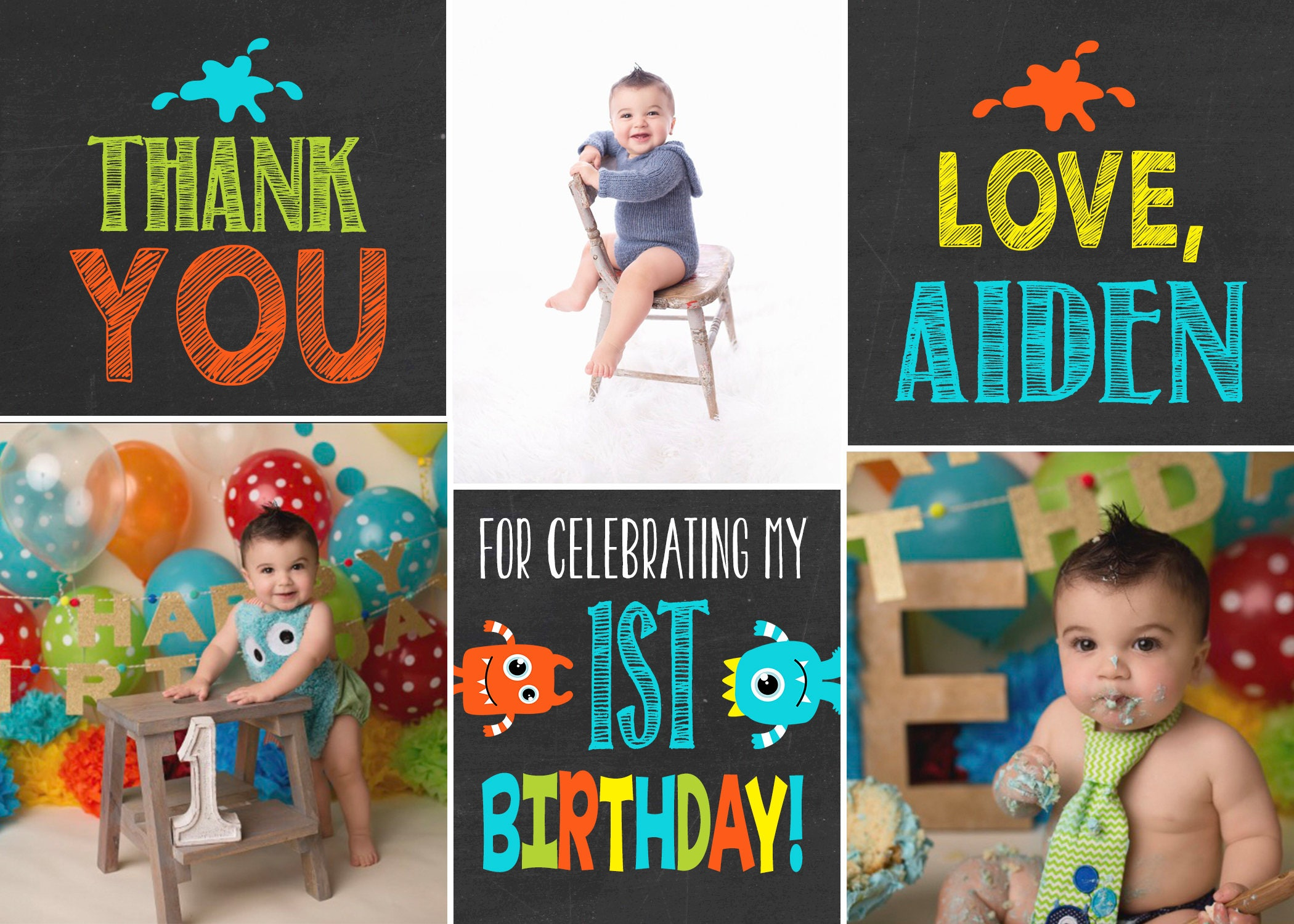 Monster birthday thank you card photo thank you card 1st birthday monster birthday thank you card photo thank you card 1st birthday first birthday little monster birthday bookmarktalkfo Image collections