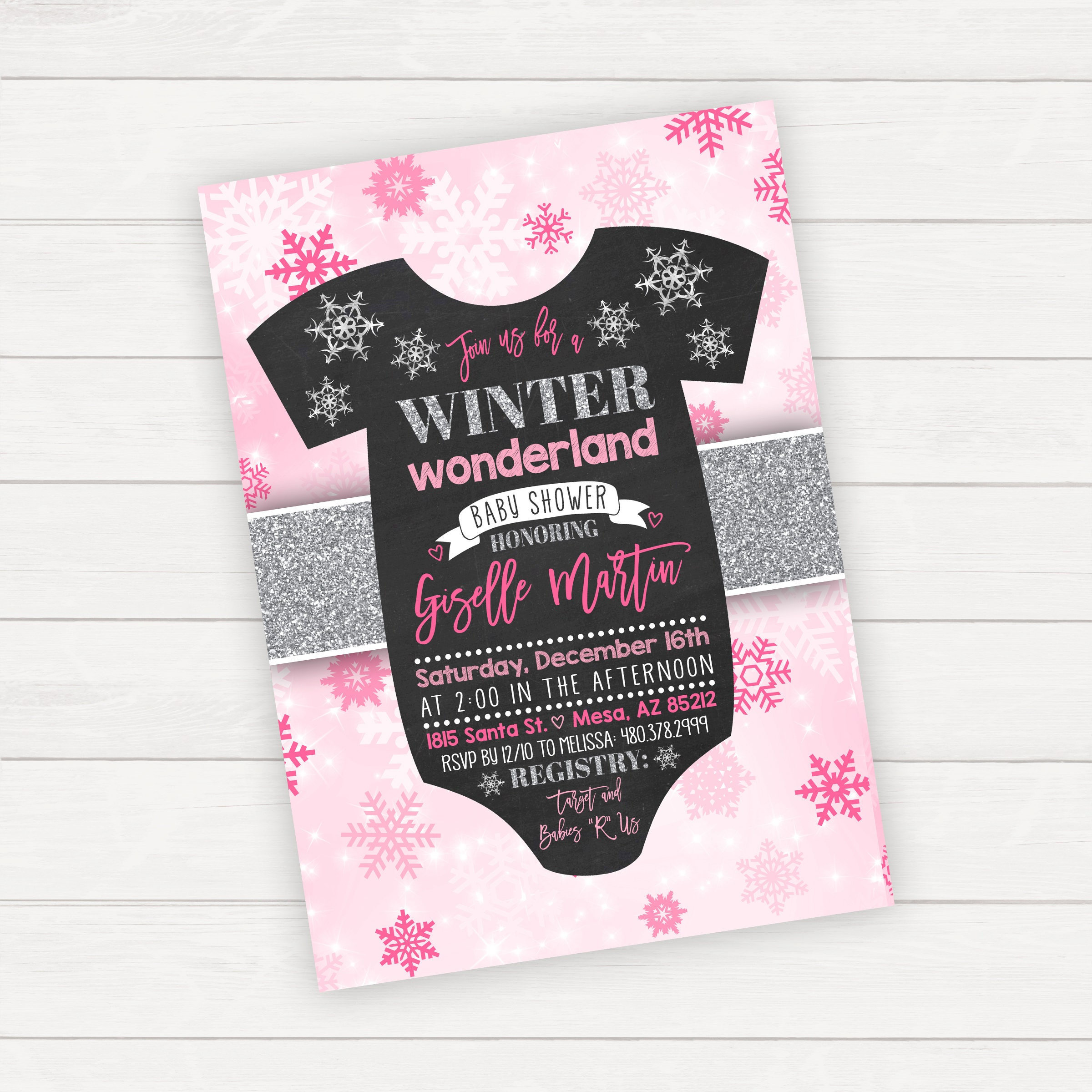 Winter Baby Shower Invitation Winter Wonderland Baby Shower ...