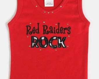 Red Tank Top with RED RAIDERS ROCK toddler tee, infant tee, girls size 6, girls clothing, football tank top, infant tank, giels size 6,