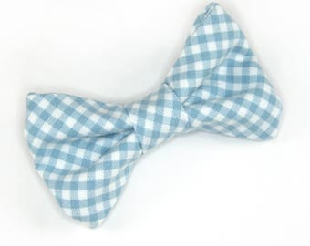 Light Blue Gingham Bow Tie, blue gingham bow tie, blue check bow tie, light blue bow tie, men's bow tie, boy's bow tie, gingham bow tie