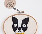 DIY Embroidery Hoop Art Kit for Red Boston Terrier