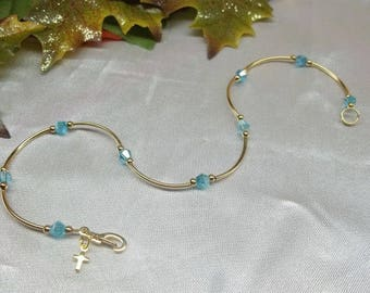Light Blue Anklet 14k Gold Anklet Aquamarine Anklet Gold Cross Anklet Aquamarine Ankle Bracelet 14k Gold Filled Anklet BuyAny3+1 Free