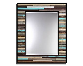 "Reclaimed Wood Framed Mirror - ""Reclaimed Reflection"" - 34"" x 40"" - Modern Wood Wall Art - Reclaimed Wood Mirror"