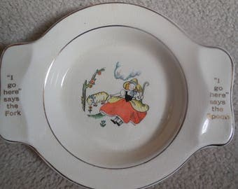 Vintage Child's Dinner Plate  Mary had a little lamb