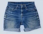 90s Levis Distressed Blue Denim Cut Off Jean Shorts W 29