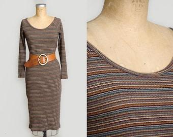 90s Stripe Fitted Modern Long Sleeve Scoop Neck Earth Tone Grunge Dress