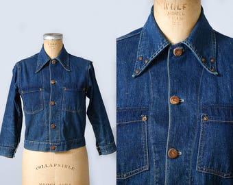 1950s Indigo Denim Copper Riveted Dark Cone Denim Western Jean Jacket