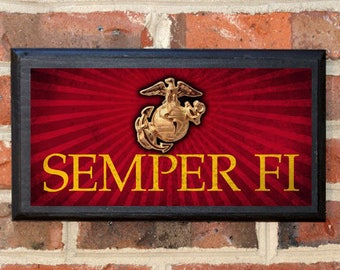 US Marine Corp The Few The Proud Semper Fi Always Faithful Wall Art Sign Plaque Gift Present Home Decor Vintage Style USMC Enlisted Classic