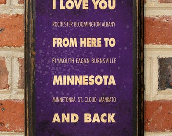 Minnesota MN I Love You From Here And Back Wall Art Sign Plaque Gift Present Personalized Custom Color Home Decor Vintage Style Antique