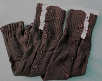 Knit boot socks leggings cuffs button detail soft warm one size