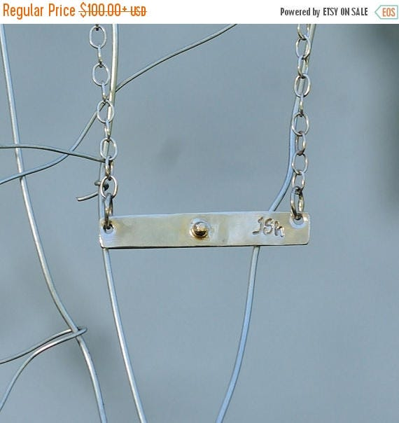 ON SALE Personalized Bar Necklace - Personalized Sterling Silver and 14K Gold Bar Necklace