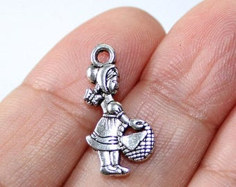 15% OFF - 8 Red Riding Hood Charms Antique Silver Tone 2 sided - CH639