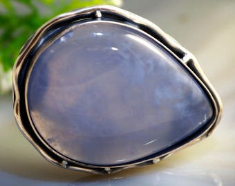 Chalcedony Ring Statement Ring Blue Stone Sterling Silver Jewelry