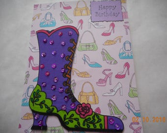 BIRTHDAY CARD,boot with sequins, Girls just want to have fun,Happy Birthday,handmade card