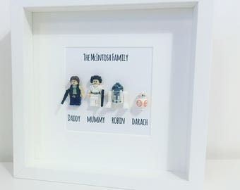 Valentines Star Wars Gift Family Lego Minifigure Family Fathers Day Frame. Personalised.  Han Solo, Princess Leia , R2D2, BB8.  Mum, Dad,