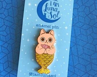Purr-maid Hard Enamel Pin // Cat Mermaid Lapel Pin, badge, brooch, fantasy, catfish, tail, seashell, kawaii, cute, rose gold, copper